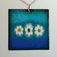 Large square copper enamelled millefiori pendant 067