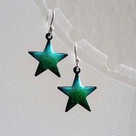 Enamelled copper star(fish) earrings 073