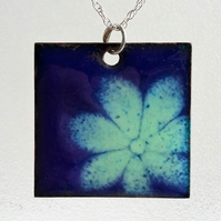 Large square copper enamelled floral pendant 081
