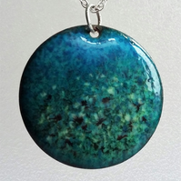 Enamelled copper 'sea meadow' pendant 086