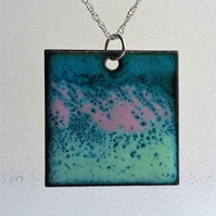 Large square multicoloured copper enamelled pendant 089