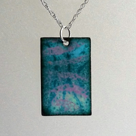 Multicoloured rectangular enamelled copper pendant 088