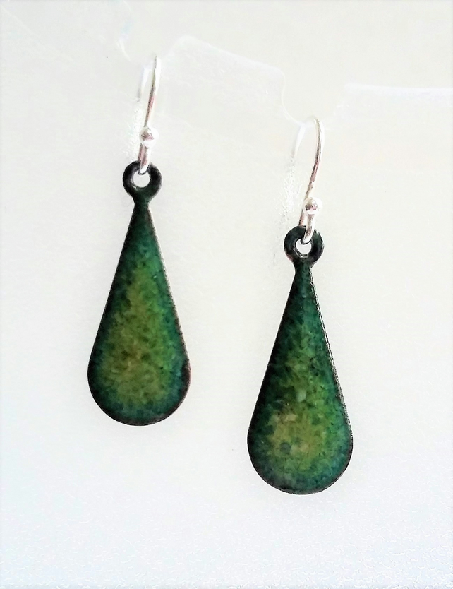 Green teardrop enamelled copper earrings 090