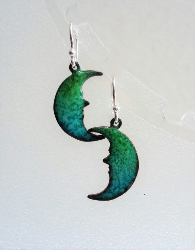 Green and blue crescent moon earrings in enamelled copper 098