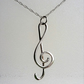 Sterling silver treble clef pendant (with chain) 028