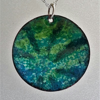 Starburst pendant in blue and green enamelled copper 094