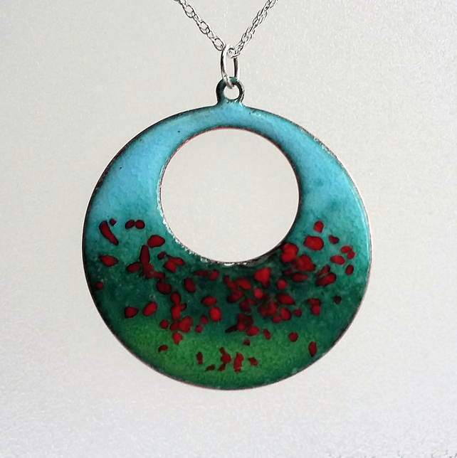 Poppy Field enamelled copper pendant 106