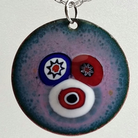 Pink enamelled copper pendant with millefiori 107