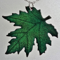 Leaf pendant in enamelled copper 108