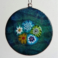 Millefiori flower garden pendant in enamelled copper 109
