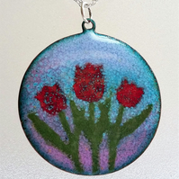 Tulip pendant in enamelled copper 115