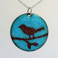 Bird pendant in enamelled copper 116