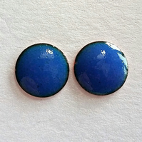 Blue stud earrings in enamelled copper 118