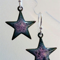 Star earrings in pink and purple enamelled copper 131