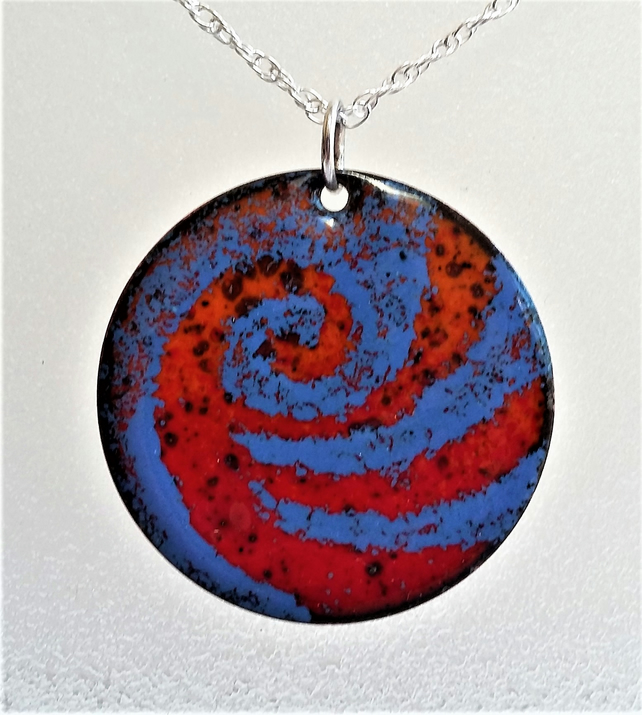 Swirl pendant in blue and orange coppered enamel 138