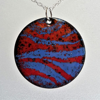 'Zing' pendant in blue and orange enamelled copper 135