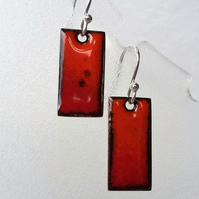 Red and orange rectangular enamelled copper earrings 141