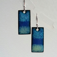 Stripey blue rectangular enamelled copper earrings 150