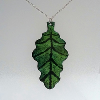 """Oak leaf"" copper enamelled pendant 147"