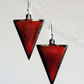 Triangle earrings in red and orange enamel on copper 138