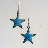 Star earrings in blue and turquoise enamelled copper 152