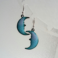 Enamelled copper crescent moon earrings in blue and pink 153