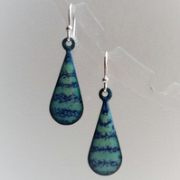 Stripy teardrop earrings in enamelled copper 154
