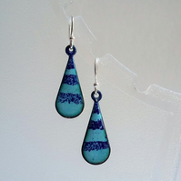 Striped teardrop earrings in enamelled copper 155