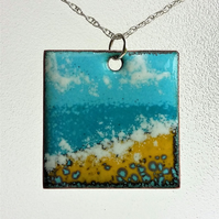 "Square ""Seascape"" enamelled copper pendant 161"