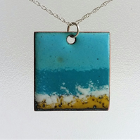 """Seascape"" square enamelled copper pendant 163"
