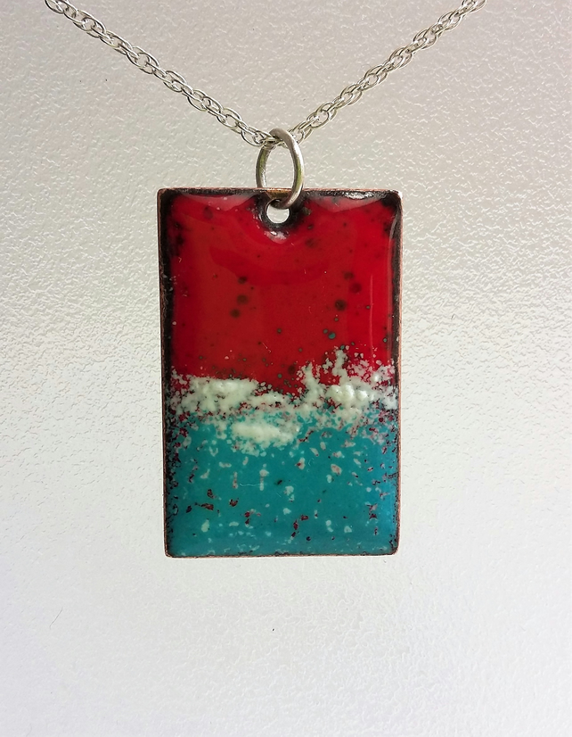 Red and teal enamelled copper rectangular pendant 164