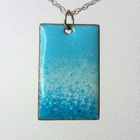 Blue and white enamelled copper rectangular pendant 165