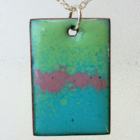 Rectangular pastel enamelled copper pendant 168