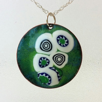 "Round ""Turtle"" enamelled copper pendant 169"