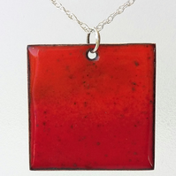 Square 'volcano' pendant in enamelled copper 170