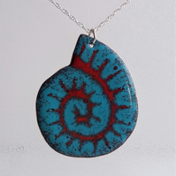 """Ammonite"" copper enamelled pendant 171"