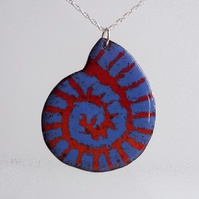 """Ammonite"" copper enamelled pendant 172"