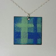 Checked copper enamel pendant in blue and green 175