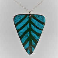 Triangle pendant in teal and green enamel on recycled copper 177