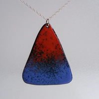 Triangle pendant in blue and red enamel on recycled copper 178