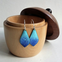 Blue pointed teardrop earrings in enamelled copper 179