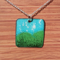 'Pastoral' square enamelled copper pendant  199