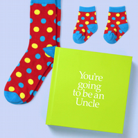 Uncle to be 12 page hard back book with socks for Uncle and Baby to be