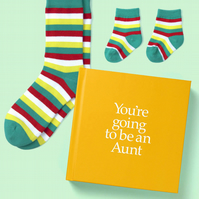 Aunt to be Sock book 12 page hard back book with special gift inside