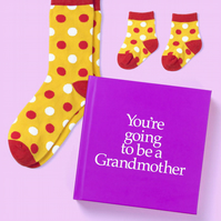 Grandmother to be 12 page hard back book with socks for Grandma and baby to be
