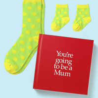 New Mum Gift book and sock 12 page hard back gift book with special gifts inside