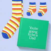 Dad to be 12 page gift book with special socks for Adult and Baby to be