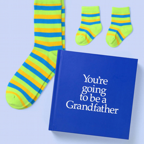 Grandfather to be 12 page hard back gift book with special socks for two.