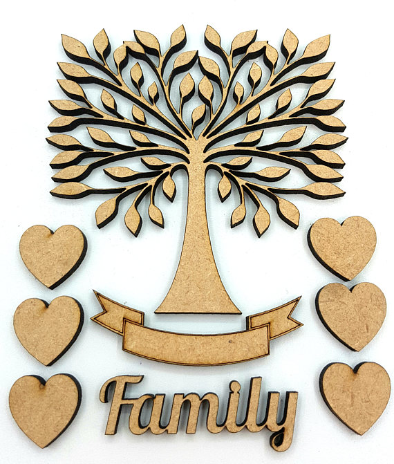 20 cm Family Tree Kit with Hearts, Word and Banner