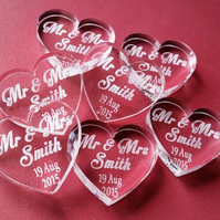 Personalised Heart Acrylic Table Decorations